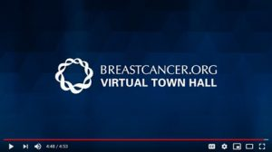 Still of Breast Cancer Virtual Town Hall